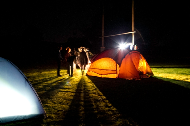 Setting up tents in the school ground